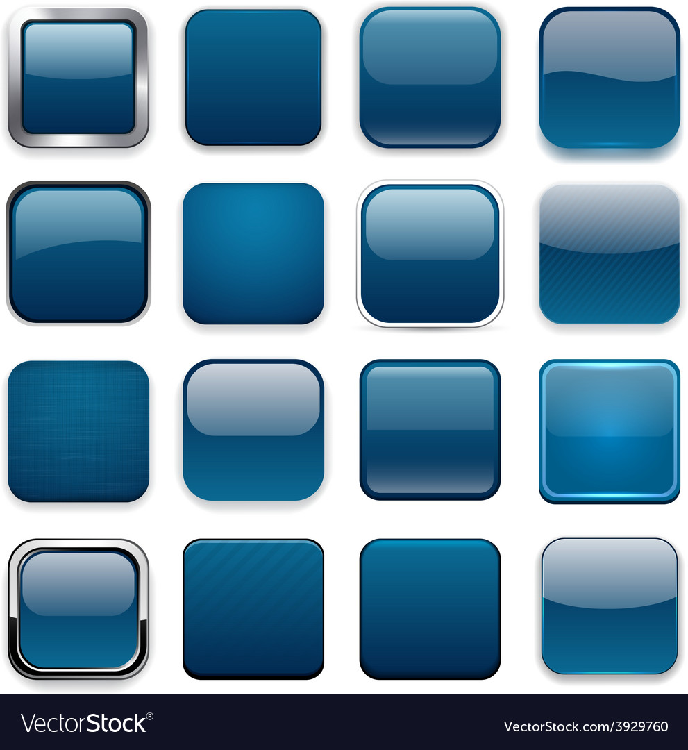 Square dark blue app icons vector | Price: 1 Credit (USD $1)