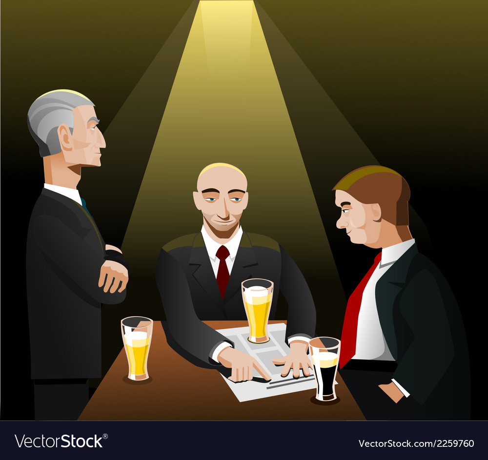 Three businessmen relaxing after work vector | Price: 1 Credit (USD $1)