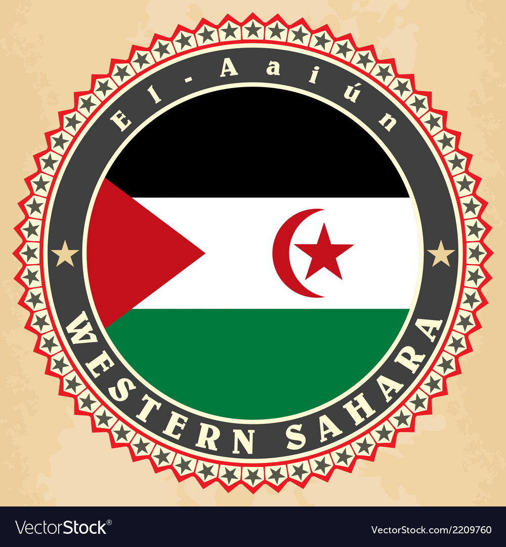 Vintage label cards of western sahara flag vector | Price: 1 Credit (USD $1)