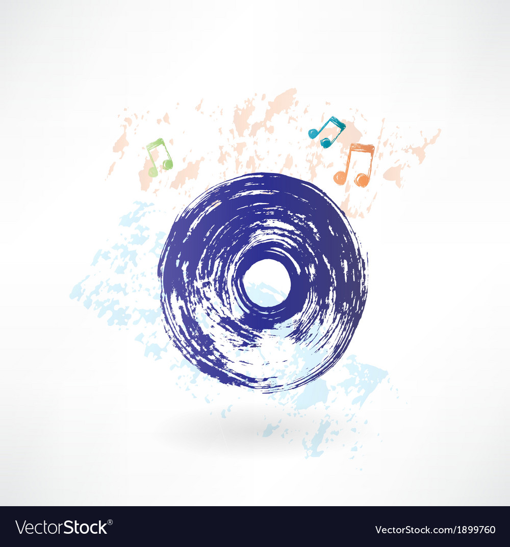 Vinyl record grunge icon vector | Price: 1 Credit (USD $1)
