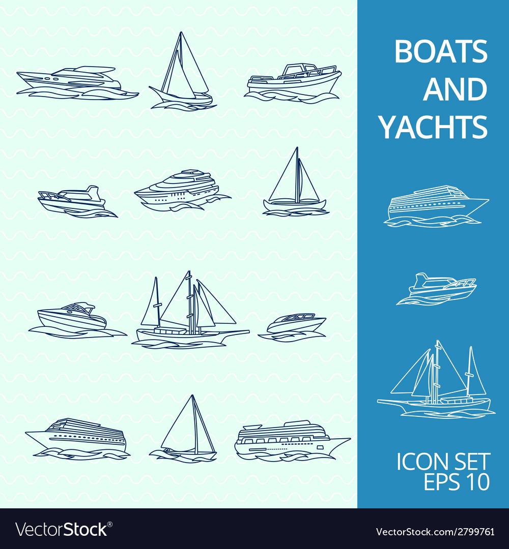 Boats icons set vector | Price: 1 Credit (USD $1)
