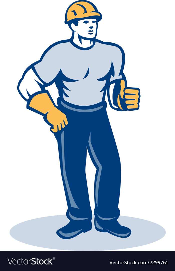 Construction worker thumbs up retro vector | Price: 1 Credit (USD $1)