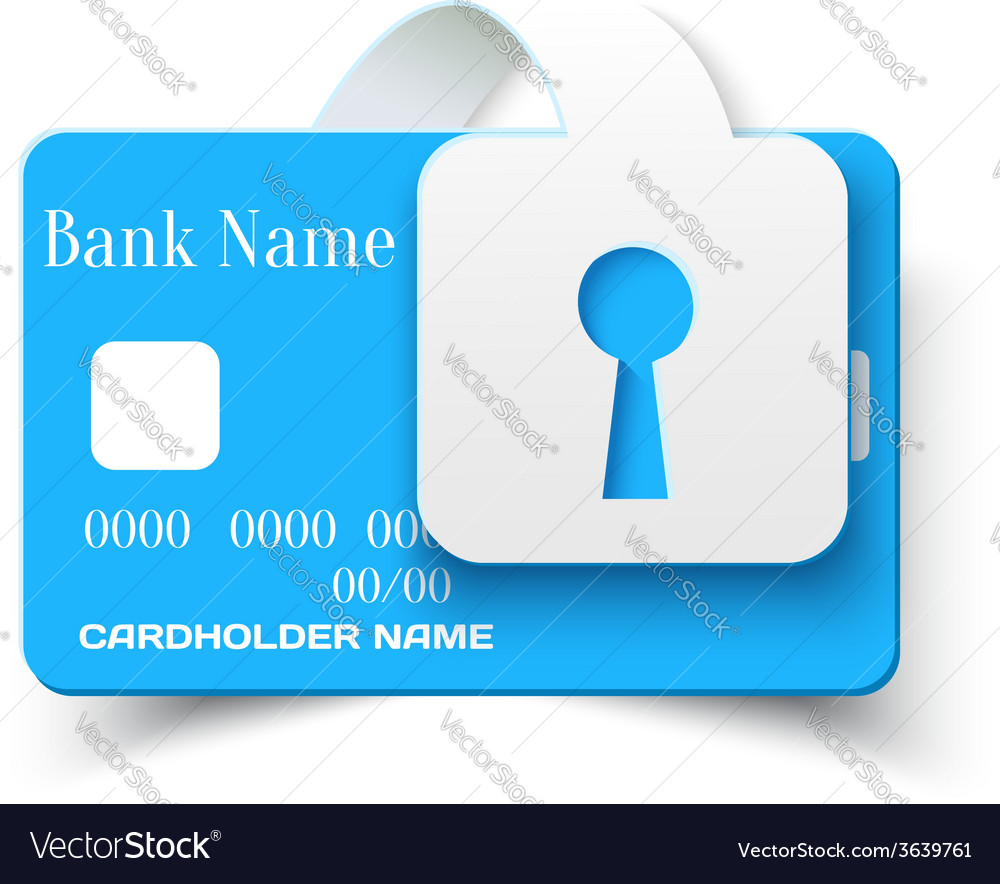 Credit card protection concept icon vector | Price: 1 Credit (USD $1)