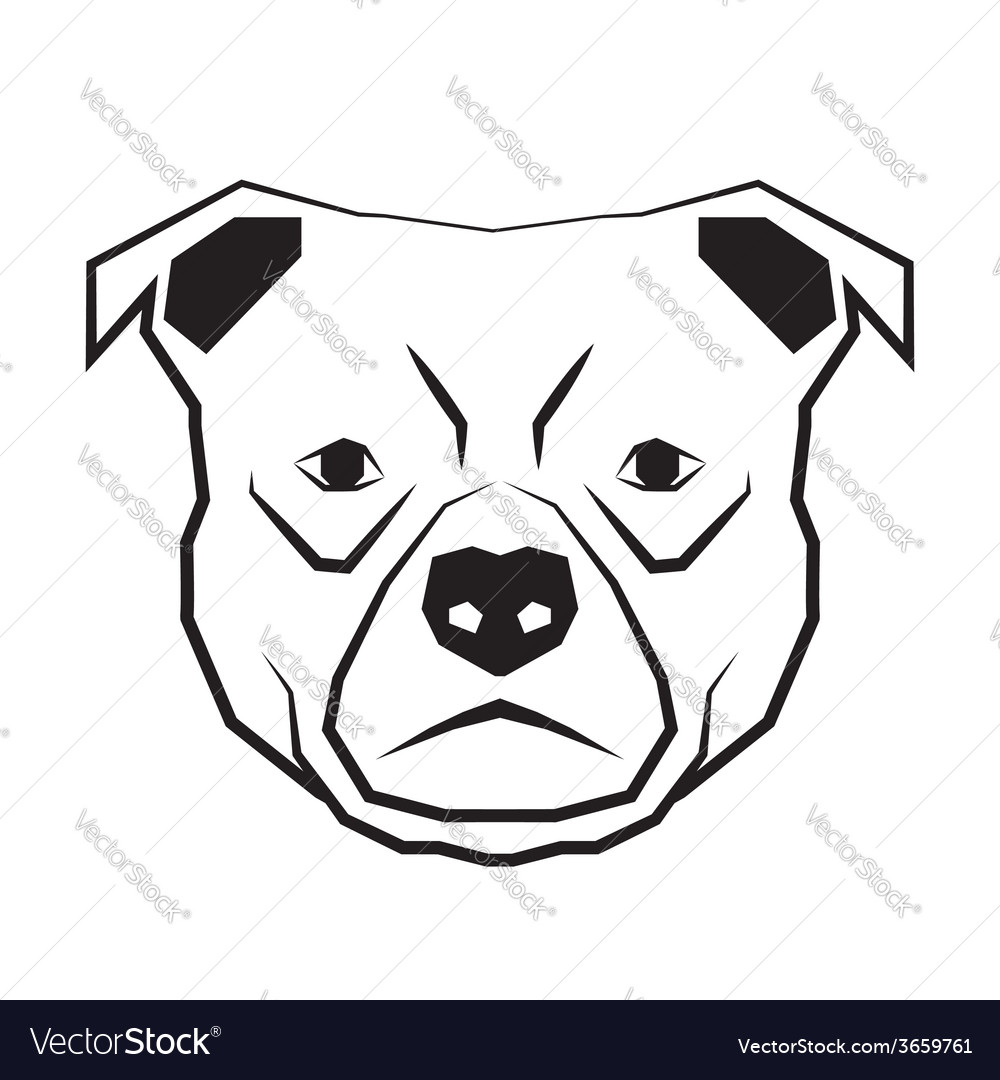 Dog face black and white drawing contour vector | Price: 1 Credit (USD $1)