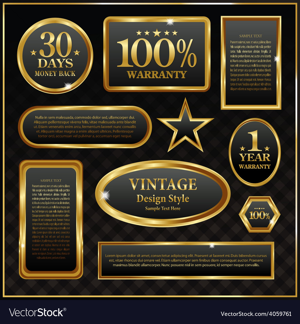 Gold frame labels sign rich banner vector | Price: 3 Credit (USD $3)