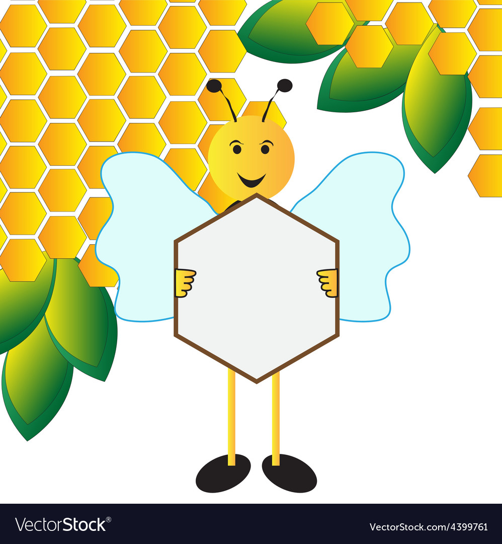Happy bee holding sign board vector