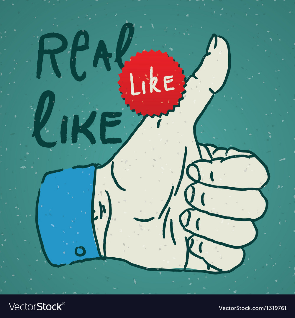 Likethumbs up symbol hand drawn vector | Price: 1 Credit (USD $1)