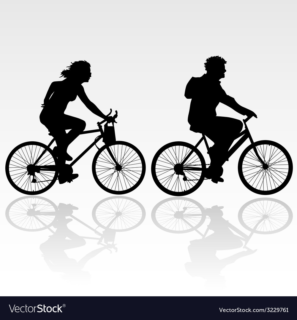 Man and woman riding a bicycle vector | Price: 1 Credit (USD $1)