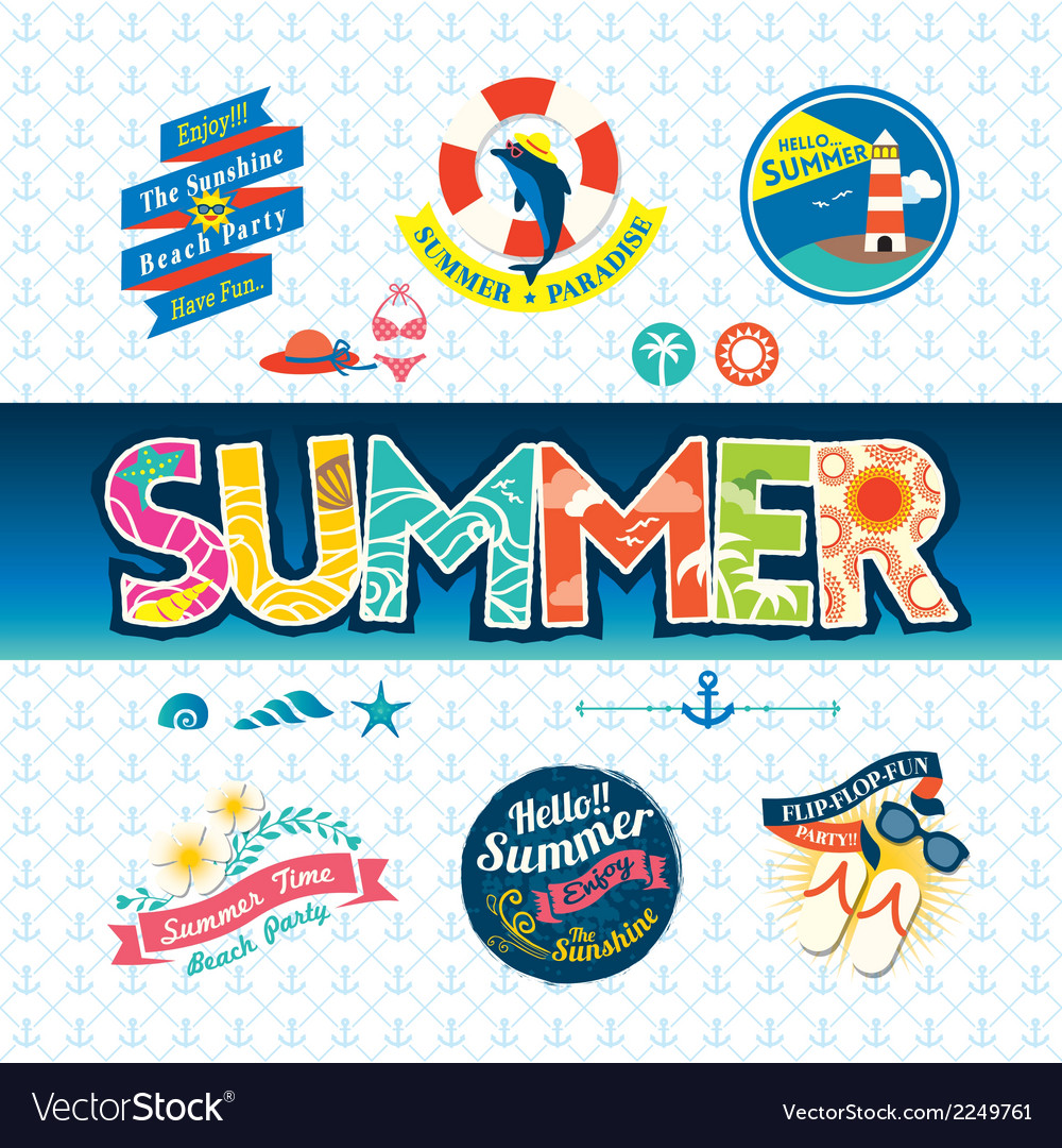 Summer design element label badge icon set vector | Price: 1 Credit (USD $1)