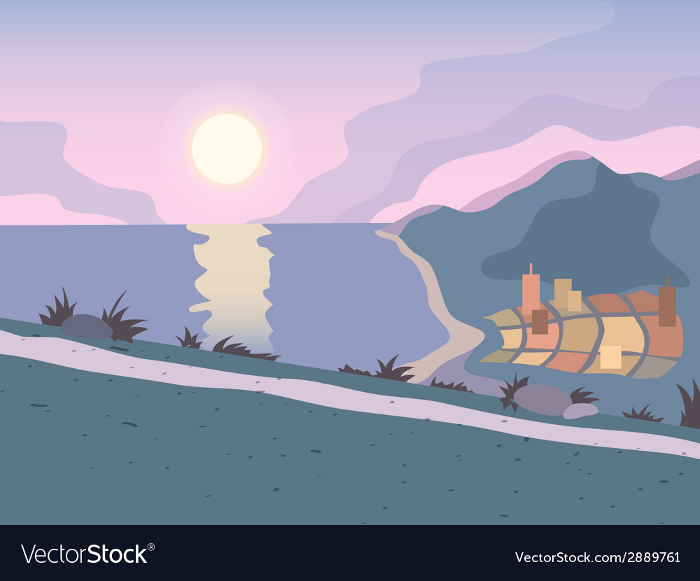 Sunset road background vector | Price: 1 Credit (USD $1)