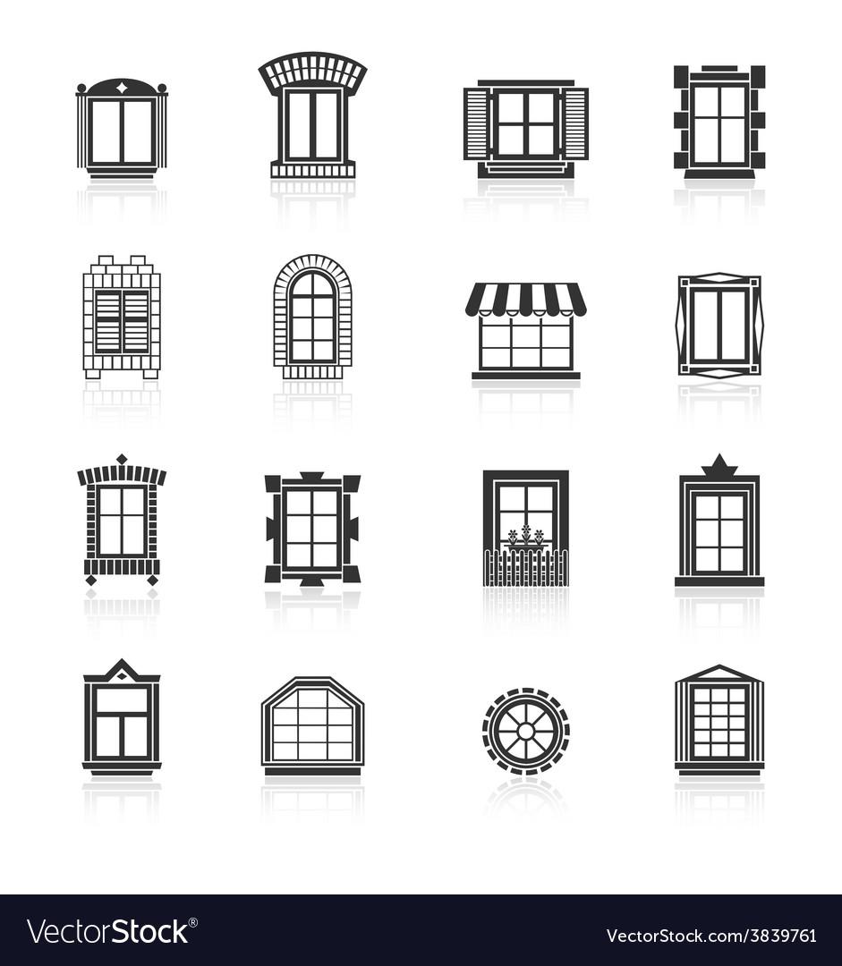 Vintage windows set flat exterior icons vector | Price: 1 Credit (USD $1)