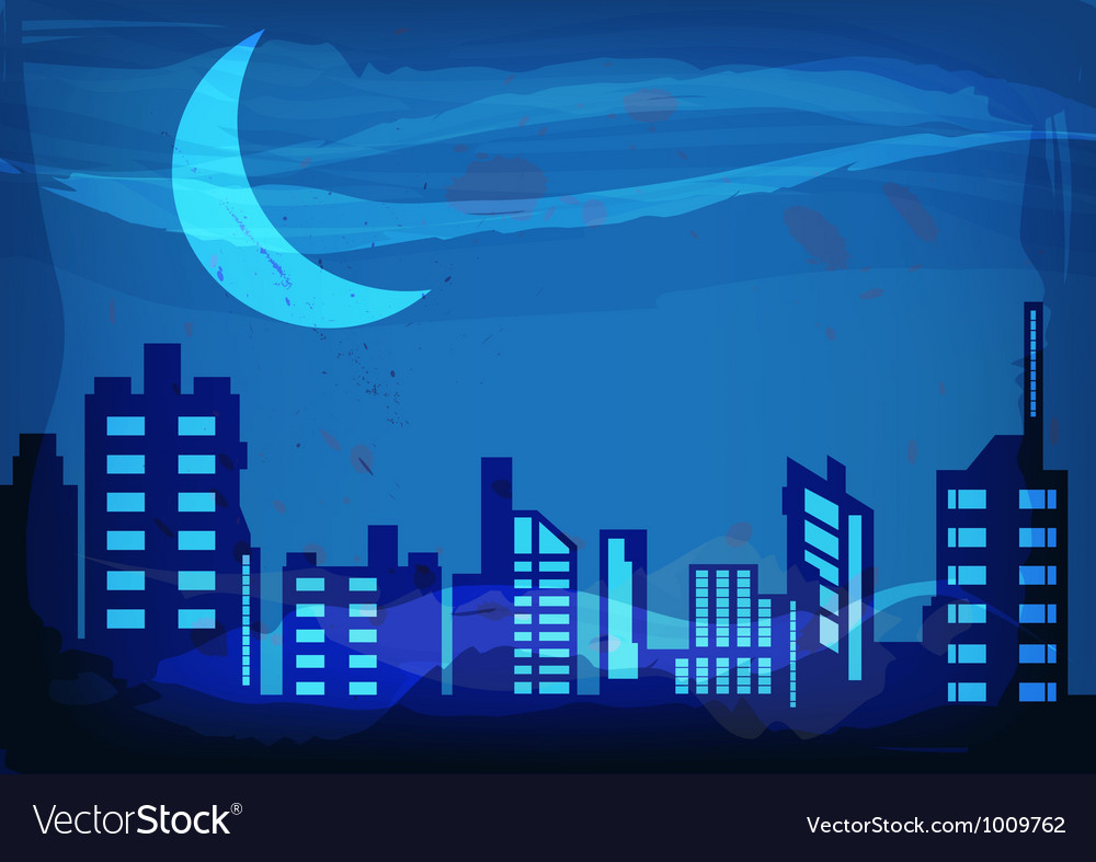 Artistic watercolor night city vector | Price: 1 Credit (USD $1)