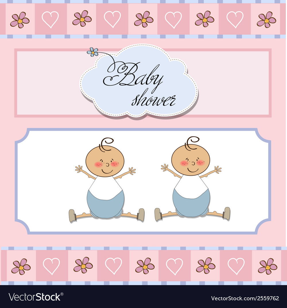 Baby twins shower card vector | Price: 1 Credit (USD $1)