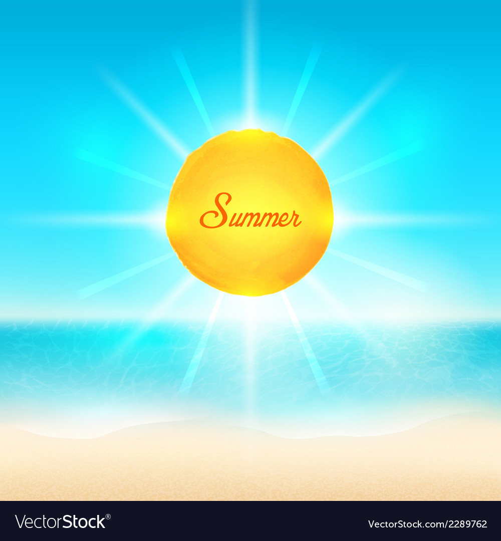 Beach and tropical sea with bright sun vector | Price: 1 Credit (USD $1)