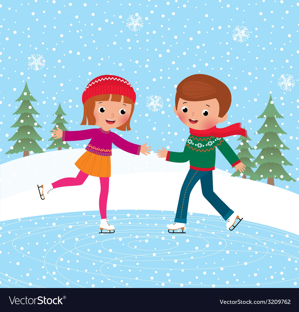 Children ice skate vector | Price: 1 Credit (USD $1)