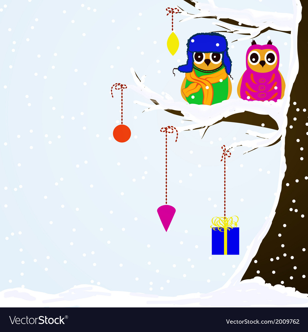 Chrstmas owls on branch of tree background vector | Price: 1 Credit (USD $1)