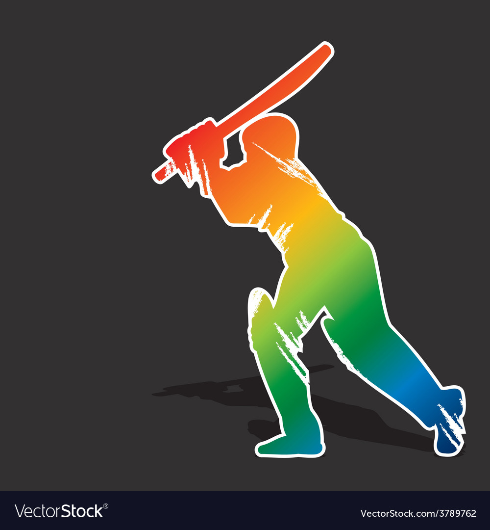 Creative abstract cricket player by brush stroke vector | Price: 1 Credit (USD $1)