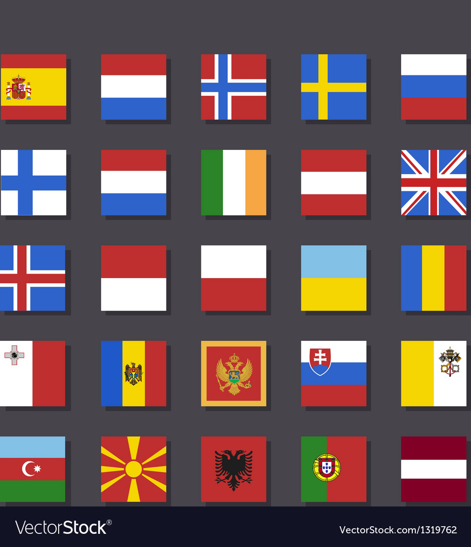 Europe flag icon set metro style vector | Price: 1 Credit (USD $1)