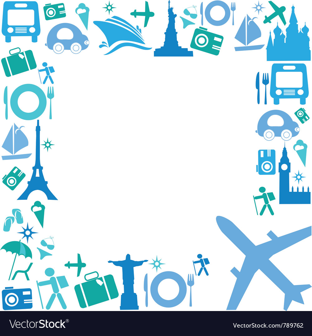 Frame with travel icons vector | Price: 1 Credit (USD $1)