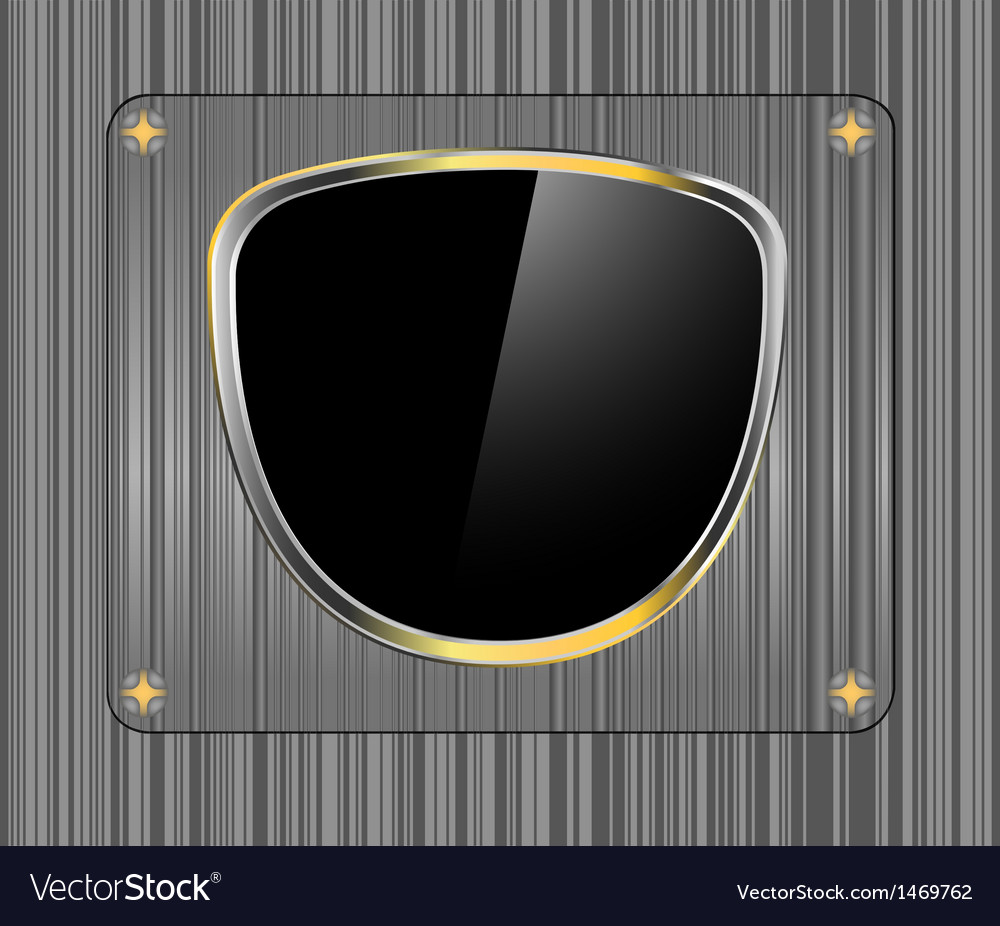 Golden shield with glass steel background vector | Price: 1 Credit (USD $1)