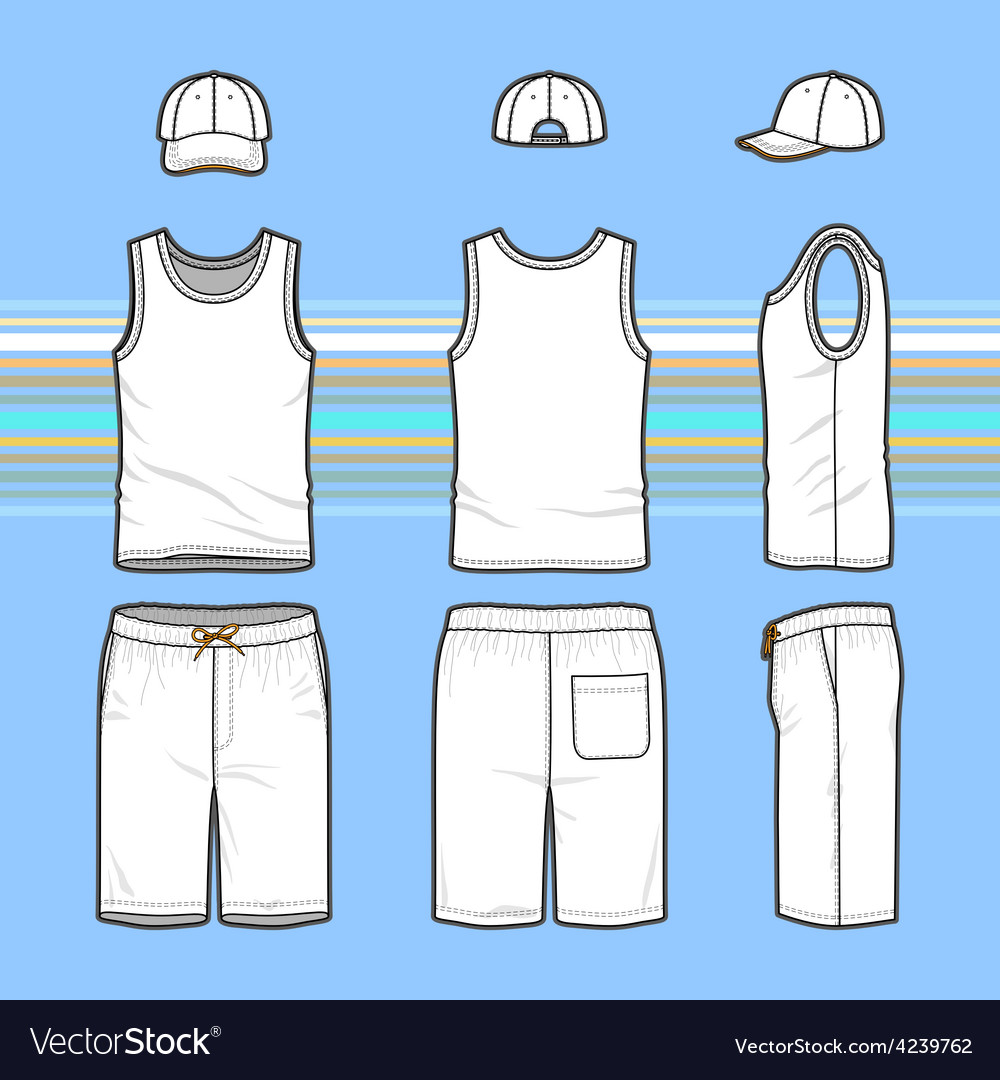 Mens t-shirt cap and swim shorts set vector | Price: 1 Credit (USD $1)