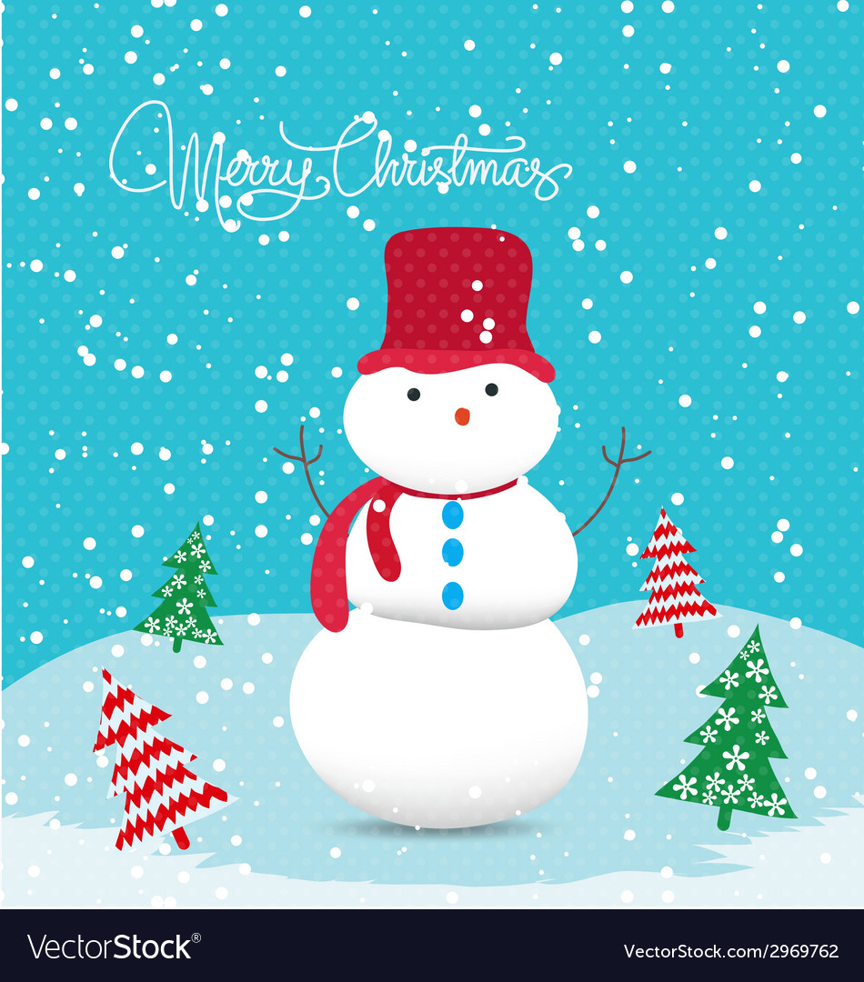 Merry christmas card with snowman so cute vector   Price: 1 Credit (USD $1)