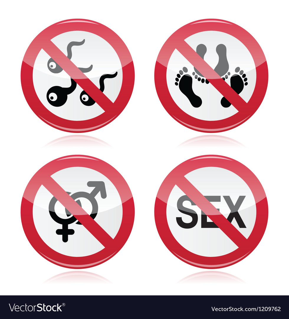 No sex romace red warning sign vector | Price: 1 Credit (USD $1)