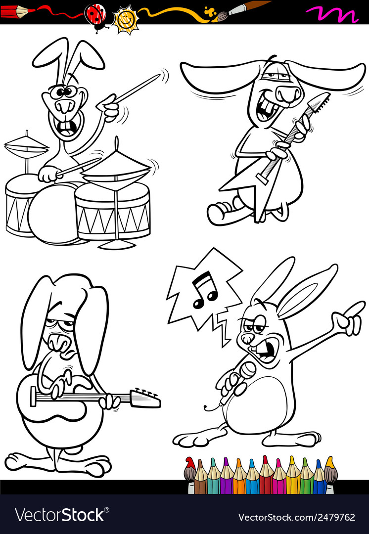 Rabbits musicians set cartoon coloring book vector | Price: 1 Credit (USD $1)