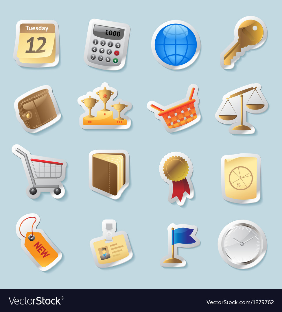Sticker icons for business and finance vector   Price: 1 Credit (USD $1)