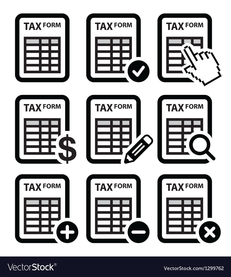 Tax form taxation finance icons set vector | Price: 1 Credit (USD $1)