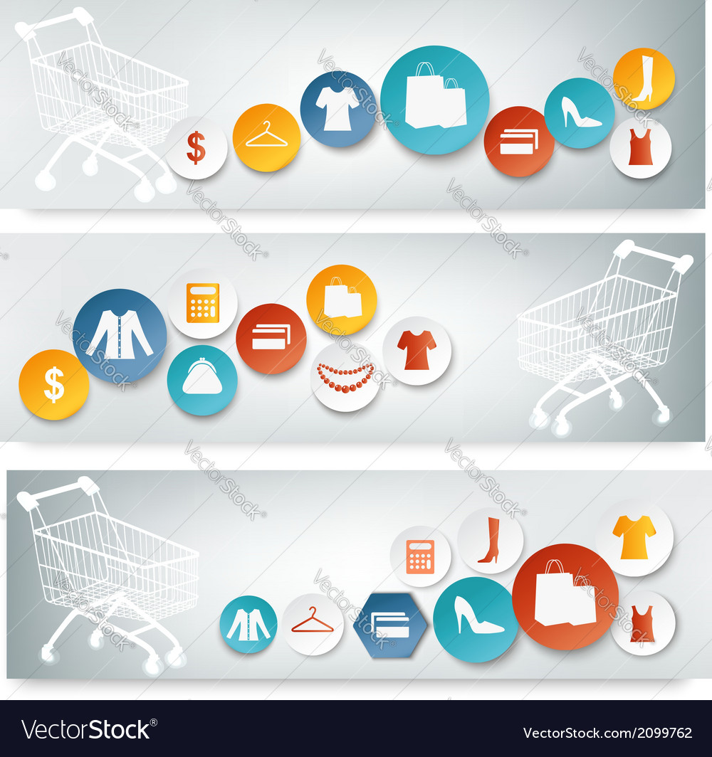 Three shopping banners with colorful icons vector | Price: 1 Credit (USD $1)