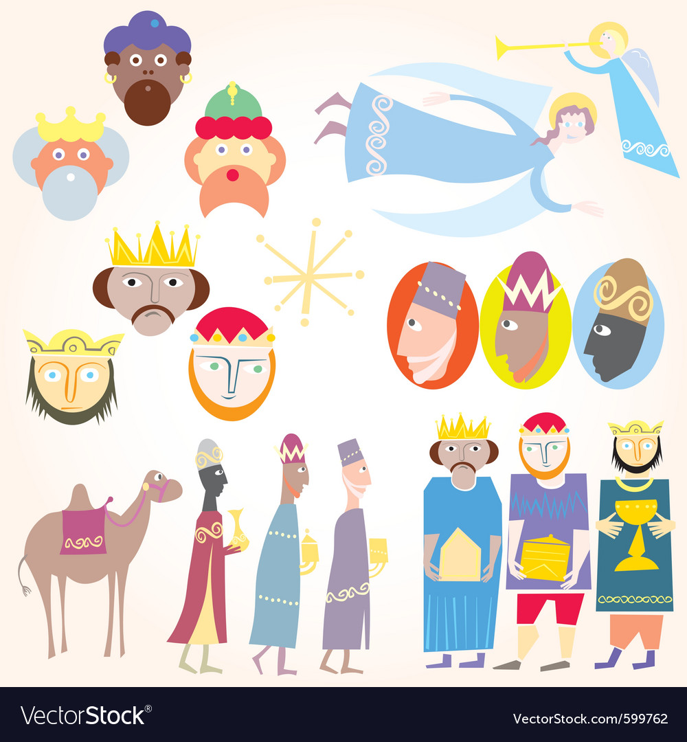 Three wise men christmas set vector | Price: 3 Credit (USD $3)