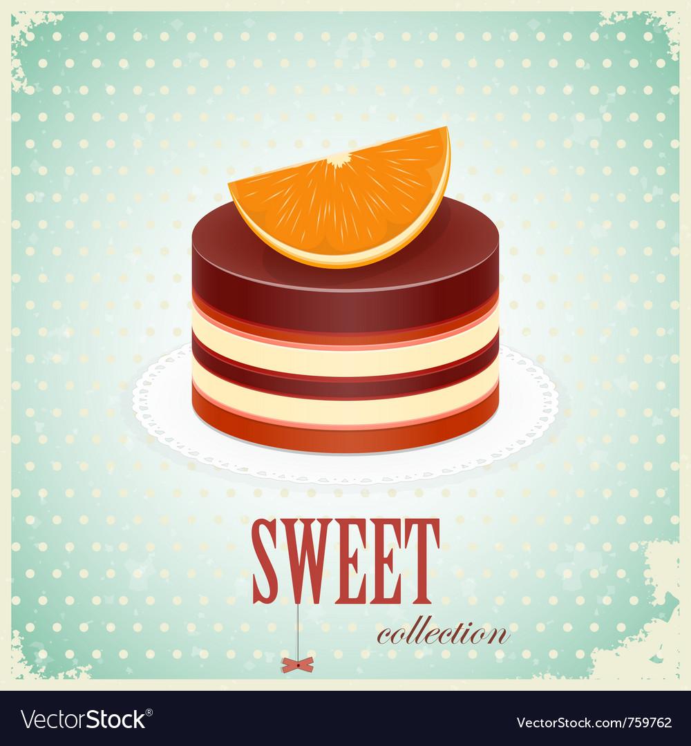 Vintage chocolate cake vector | Price: 1 Credit (USD $1)