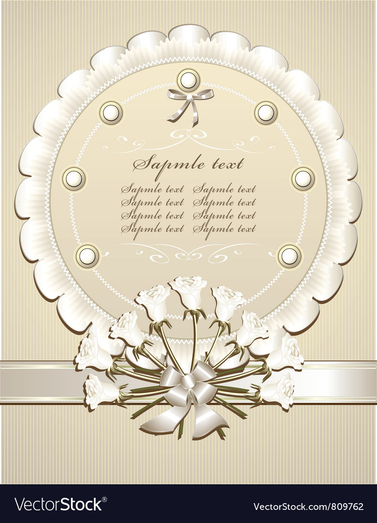 Wedding congratulation or invitation with roses vector | Price: 1 Credit (USD $1)