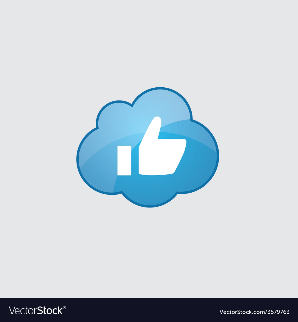 Blue cloud ok icon vector | Price: 1 Credit (USD $1)