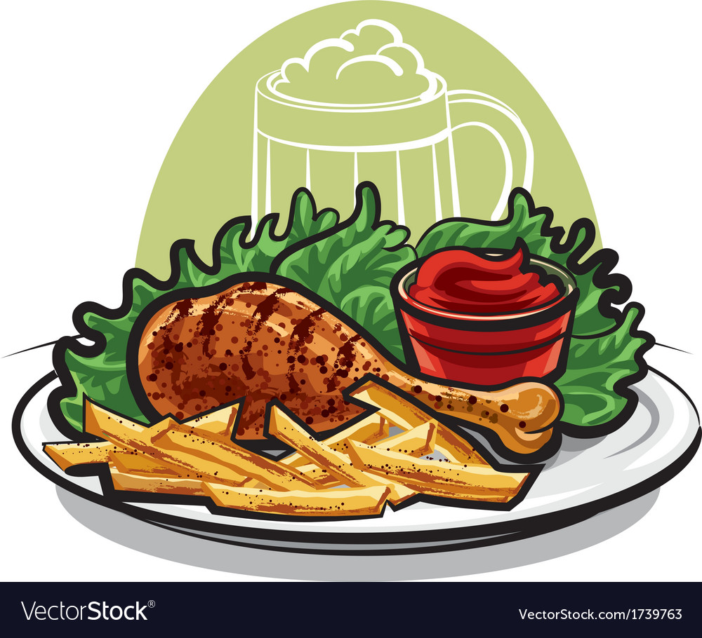 Chicken leg with fries vector | Price: 3 Credit (USD $3)