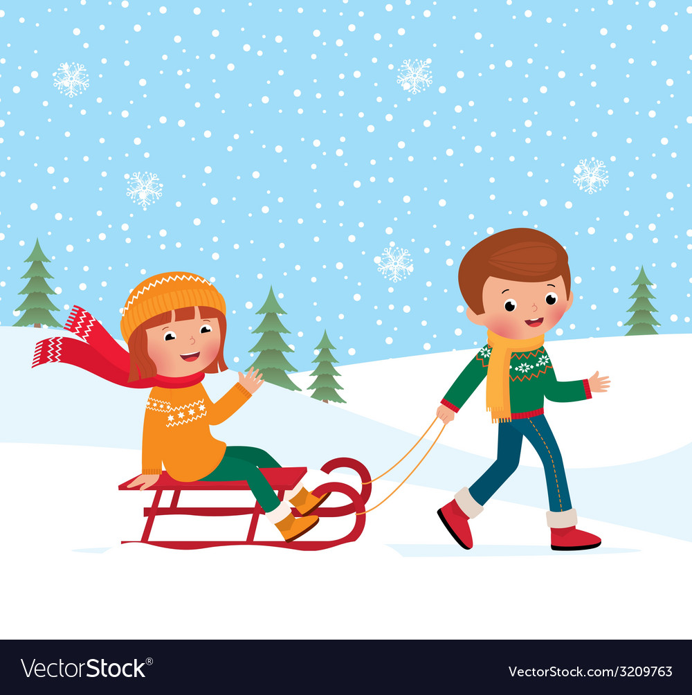 Children winter sledding vector | Price: 1 Credit (USD $1)