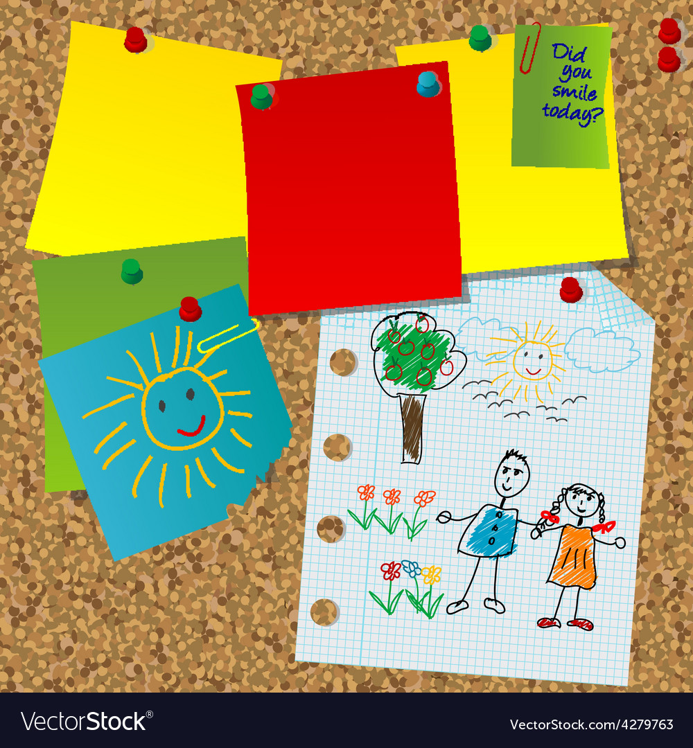 Cork board with paper notes and children pictures vector | Price: 1 Credit (USD $1)
