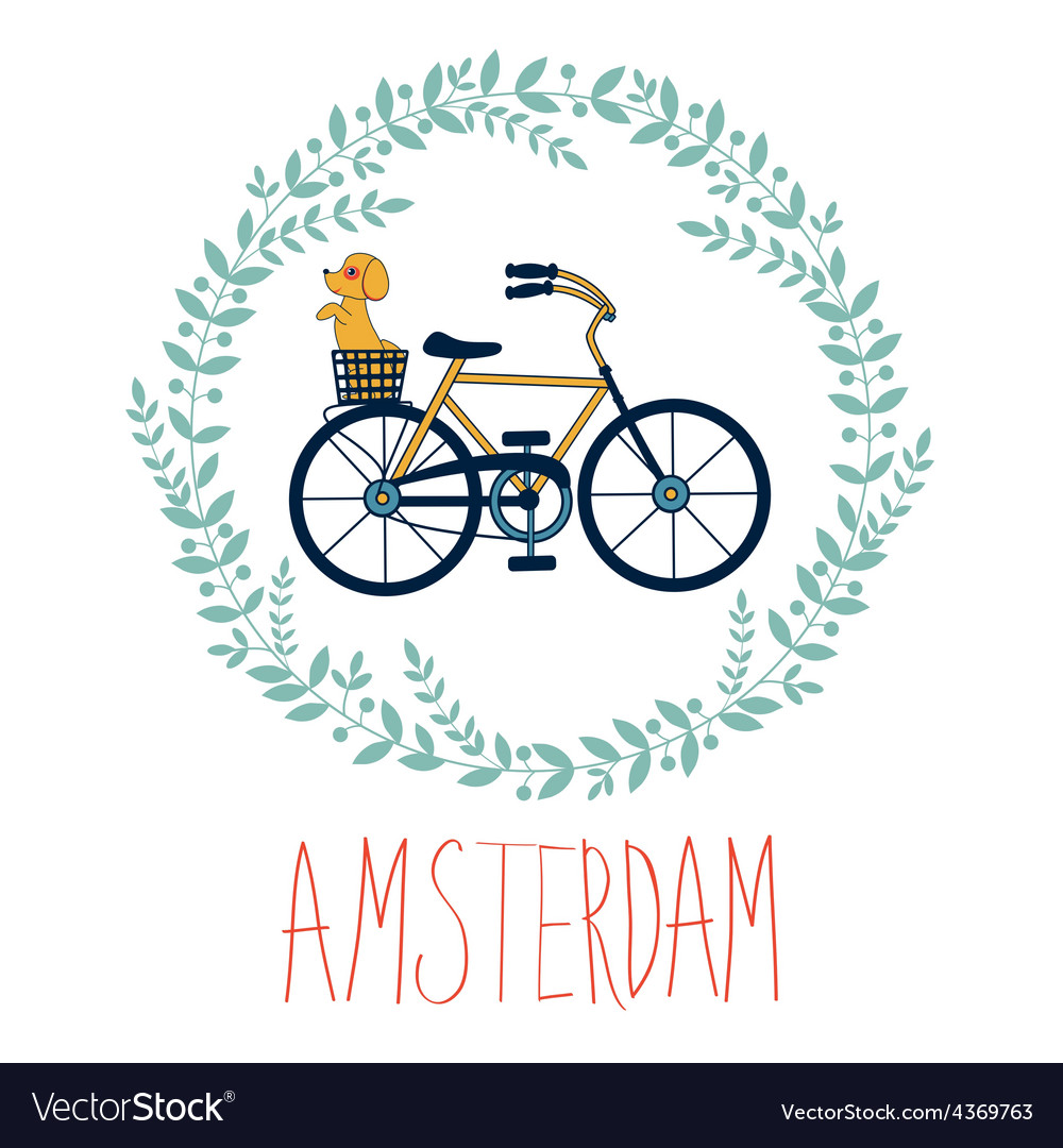 Cute amsterdam card with dog in bycicle basket in vector | Price: 1 Credit (USD $1)