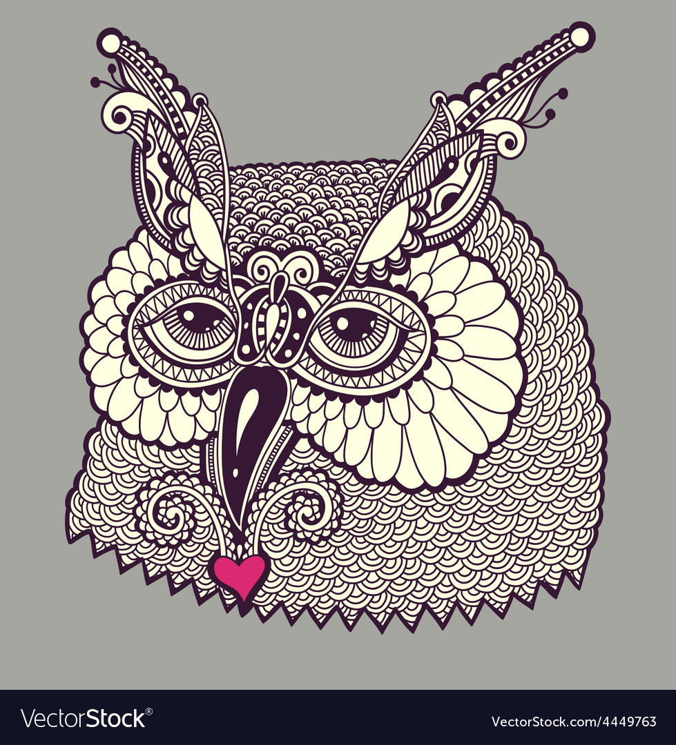 Digital drawing of owl head vector | Price: 1 Credit (USD $1)