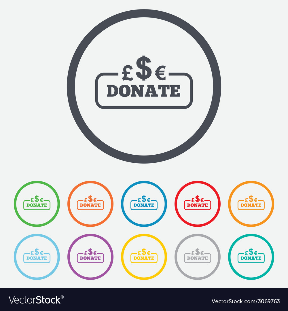 Donate sign icon multicurrency symbol vector | Price: 1 Credit (USD $1)
