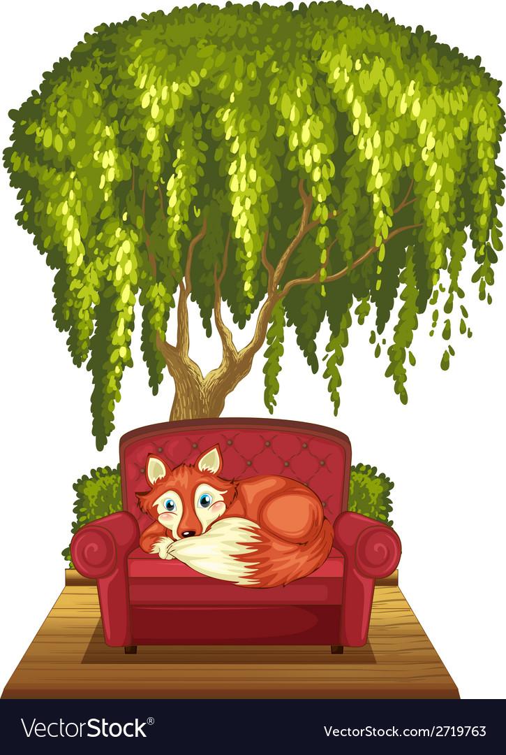 Fox on sofa vector | Price: 1 Credit (USD $1)