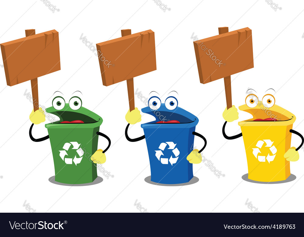 Funny recycling bins holding woodens signs vector | Price: 1 Credit (USD $1)