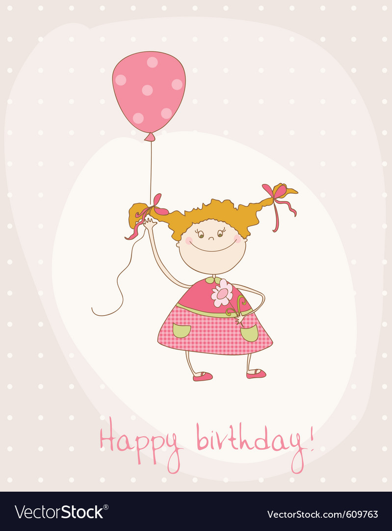 Greeting birthday card with cute girl vector | Price: 1 Credit (USD $1)