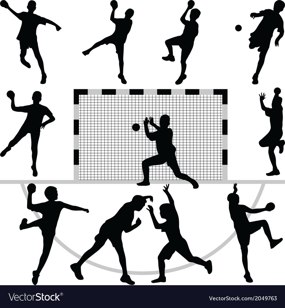 Handball silhouettes vector | Price: 1 Credit (USD $1)