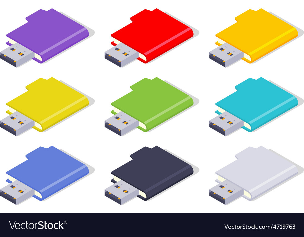 Isometric colored usb flash-drives vector | Price: 1 Credit (USD $1)