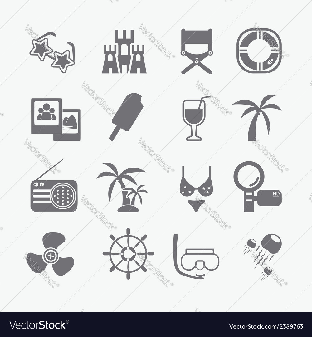 Sea set of icons vector | Price: 1 Credit (USD $1)
