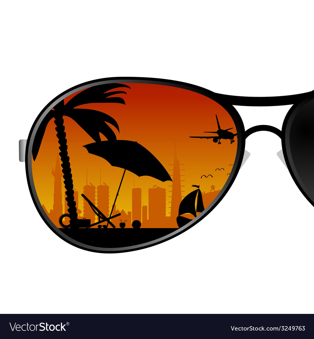 Sunglass with beach items color vector | Price: 1 Credit (USD $1)