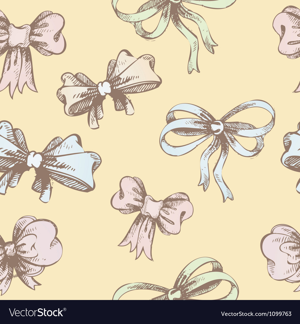 Vintage hand-drown bow pattern vector | Price: 1 Credit (USD $1)