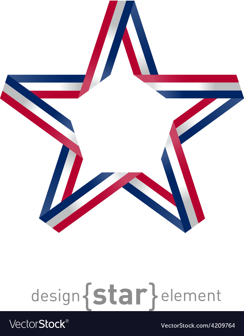 4th july independence day star from ribbon vector | Price: 1 Credit (USD $1)